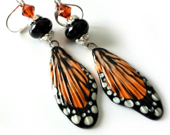 Monarch Butterfly Earrings, Porcelain Butterfly Wings, Lampwork Beads, Swarovski Crystals, Orange, Black, White Dots, Beaded Earrings, OOAK