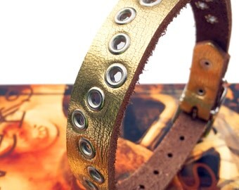 Golden Leather Dog Collar with Zig Zag Silver Eyelets, Size S/M to fit a 11-14 Neck, Small Dog, Medium Dog Collar, Eco Friendly, OOAK