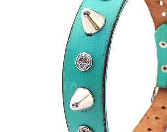 Rustic Aqua Blue Leather Dog Collar with Crystal Rhinestones and Gentle Spikes, Size Medium Dog to fit a 14-17 Neck, Seattle Handmade in USA
