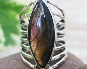 Marquis purple/olive labradorite ring in silver bezel setting with sterling silver skeleton multi wrap band