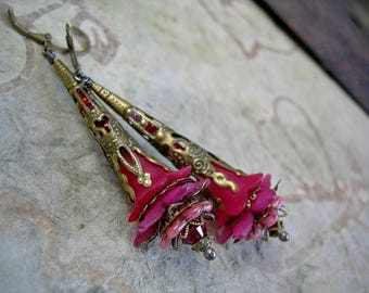 Blushing Rose, Elven Wand Earrings, Dramatic Statement Earrings in Deep & Tender Pinks, Victorian Fairy, Boho Glam, Elksong Jewelry