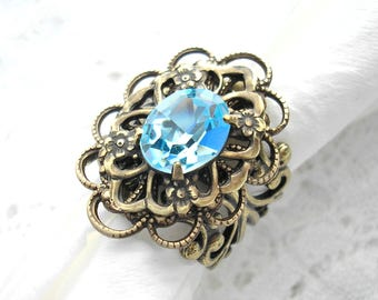 Light Aquamarine Swarovski Crystal Jewel Ring Brass Filigree Ring Vintage Style Ring