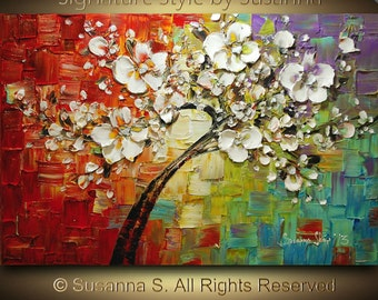 original large tree painting multi color white cherry blossom impasto landscape by susanna 36x24 ready to hang made2order