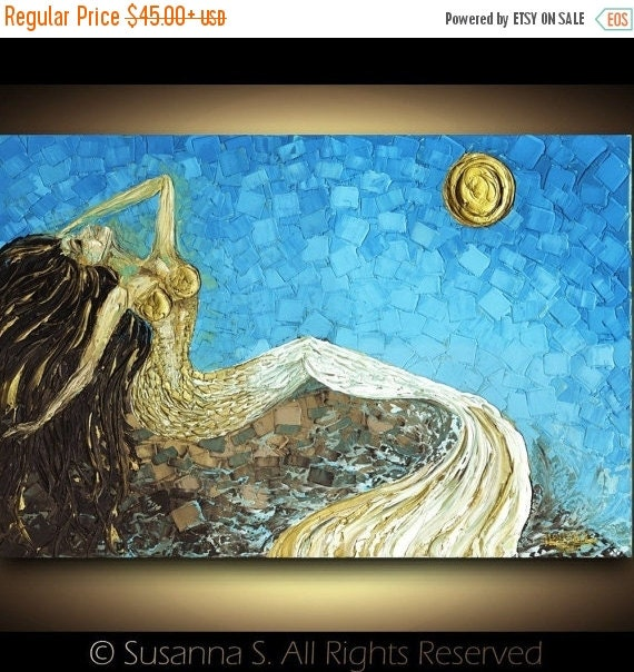 gold mermaid print on canvas fantasy wall art impressionist abstract seascape by susanna