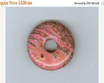 CLEARANCE 32mm Pink and Brown Gemstone PI Donut Pendant Focal Bead Doughnut 811