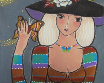 """Original Acrylic Painting - """"Muse with A Moth"""""""
