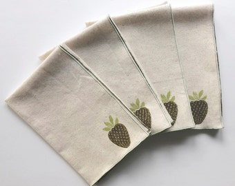 Strawberry Handmade Block Printed Napkin Set of Four- Cotton Napkin Set