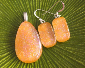 Orange Glass Fused with a Pink Pattern Dichroic Art Glass Jewelry Matching Earrings Pendant Set