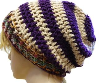 Womens Slouchy Beanie Hat Striped Crochet Slouch Hat