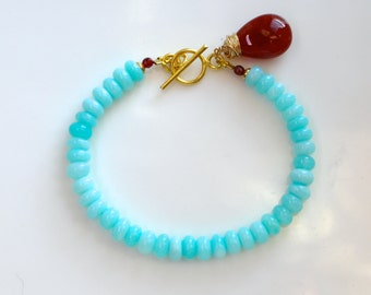 Polished Blue Opal, Brick Agate Bracelet in 14kg fill...