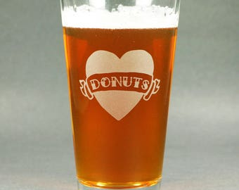 Tattoo Heart Pint Glass - Dad, Mom, Donuts, True, Love, Forever, etc.