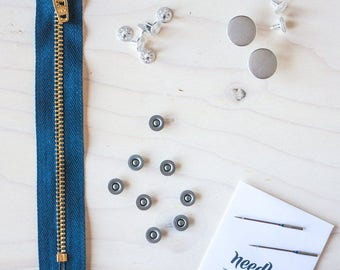 Fly Front Jeans-Making Hardware KIT - Brass, Copper or Nickel