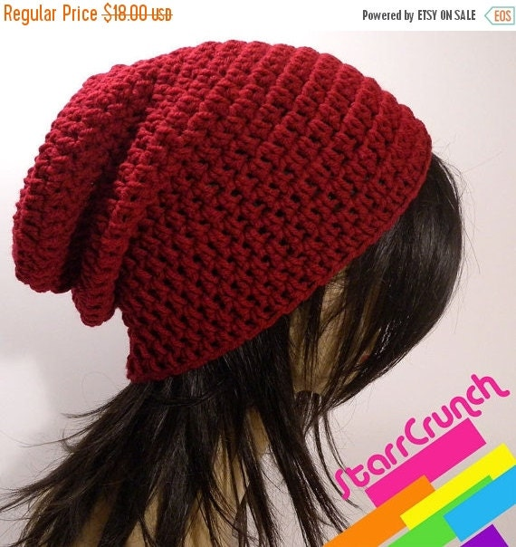 ReOpening Sale 25% Off Slouchy Beanie Crochet Hat in Cranberry