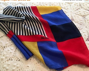 BIG SALE - Vintage Scarf - Bill Blass 1980s - Bright Color Block Design with Stripes - Red Blue Yellow Scarf - Large Colorful Scarf - Silk -