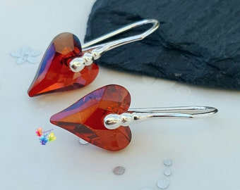 Red Crystal Wild Heart Earrings, Sterling Silver Earrings, Gift for Her, Crystal, girlfriend valentines day gift, sweetheart jewelry, ruby