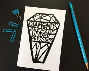 Dot Grid A6 Notebook - Paper Cut Design - Diamonds Are Made Under Pressure - 48 Dot Grid Pages