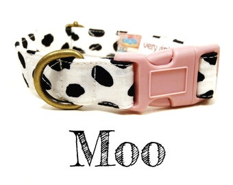"White Black Cow Print Polka Dot Dog Collar -  Organic Cotton - Antique Brass Hardware - ""Moo"""