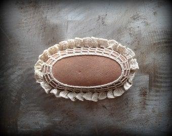 Crochet Lace Stone, Ruffled, Table Decoration, Home Decor, Nature, Handmade, Unique, Oval, Monicaj