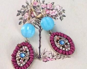 Indra Earrings, Rosy Pink Beaded Bohemian Style Earrings