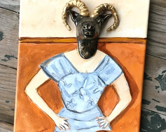 Original Aries the Ram Painting - Odd Painting - Small Original Painting - 3D Mixed Media Painting - Woman with Horns - Mask Painting
