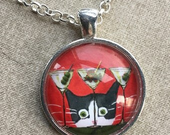 Tuxedo Cat Necklace -  Cat Jewelry - Silent Mylo Tuxedo Cat Necklace - Cat with Martini - Funny Cat Art - Gift for Cat Lover