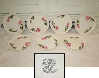 SEVEN Vintage Canonsburg Pottery, American Beauty design, Desert or Bread Plates, 40s, pink flowers, roses