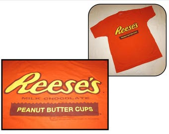 Vintage 100% Cotton Bright Orange T-shirt, XL, Reese's Milk Chocolate Peanut Butter Cups, 1995, Hershey