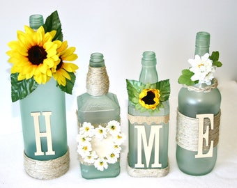 Frosted Green Decorated Wine Bottles HOME Design Sunflowers Painted Handmade