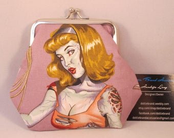 Zombie Pin Up Girl Clasp Kisslock Change Coin Purse