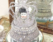 Rhinestone Encrusted Music Box Art Doll  Large Crown Silver Shabby  Assemblage Art Doll  Sculpture Special Wedding Ring Bearer Box