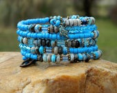 RESERVED for BARBARA EDWARDS African Trade Beads and Blue Agate Gemstone Bead Bangle
