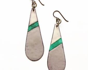 Enamel and Patina Teardrop Earrings