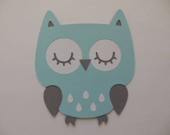 Owl Cutout - Blue, White and Gray - Boy Birthday Party Decoration - Boy Baby Shower Decorations - Set of 1