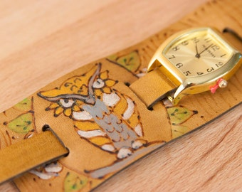 """Cuff Watch - Womens 2"""" Wide Leather Cuff Watch with Owl and Wood Grain - Handmade in the Emerson Pattern in Antique Brown"""