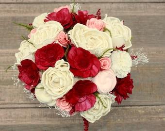 Sola flower bouquet, marsala sola wood flower wedding bouquet, blush and burgandy, eco flowers, alternative keepsake bouquet, wine bouquet