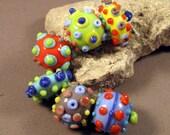 Lampwork Beads Handmade by Mona Sullivan -Multi-Colors and Dots-Multi colored Precision Layered dots Colorful Lampwork by Mona Sullivan Boho