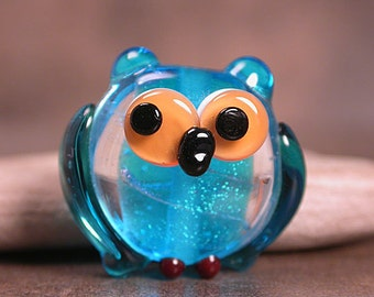 Lampwork Owl Bead Glass Bird Aqua Blue Dichroic Glass Divine Spark Designs SRA