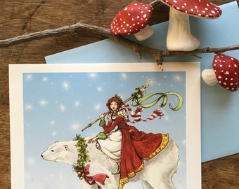 Polar Bear Journey, Christmas Card, 1 Card