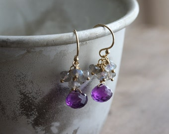 Small gemstone cluster earrings - amethyst & labradorite - 14k gold filled