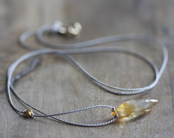 Citrine necklace - Golden citrine on grey silk with gold accent bead & 14k gold filled clasp - November birthstone - citrine jewelry