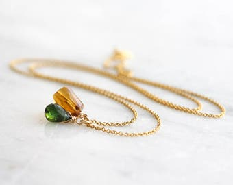 Citrine necklace - citrine nugget & chrome green tourmaline briolette on 14k gold filled chain - citrine jewelry - gold jewelry