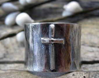20% OFF TODAY Sterling silver wide band cross ring