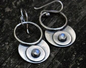 20% OFF Sale Rainbow moonstone sterling silver gypsy hoop dangle earrings