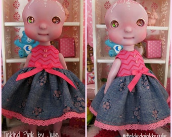 Tiny BJD Cerise Babydoll Dress by Tickled Pink by Julie