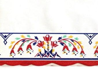 Vintage Shelf Paper -1940's Stylized Folk Flower Design in Primary Colors