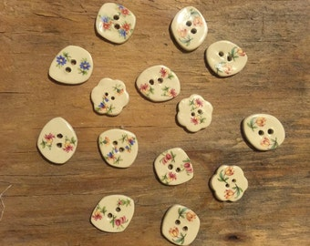 FREE SHIPPING Set of 14 Handmade Ceramic Buttons - Victorian Floral