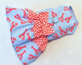 Dog Harness Dress  Summer Fun Beach Blue Coral Lobsters and Coral Dots