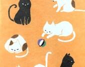 Japanese Envelopes - Cat Envelopes -  Animal Envelopes - Set of 6 - Light Orange Envelopes