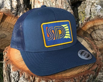 South Dakota Trucker Cap - Navy SD Sunny Retro Snapback Trucker Hat - South Dakota Hat - SD Vintage Style Baseball Cap by Oh Geez! Design