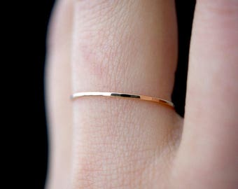 Ultra Thin Rose Gold Stacking ring, hammered stacking ring, 14k rose gold filled stacking ring, rose gold fill stackable ring, delicate ring